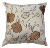 LARGE FLORAL DESIGNER FAUX SILK STYLISH FILLED CUSHION LATTE BEIGE & CREAM COLOUR